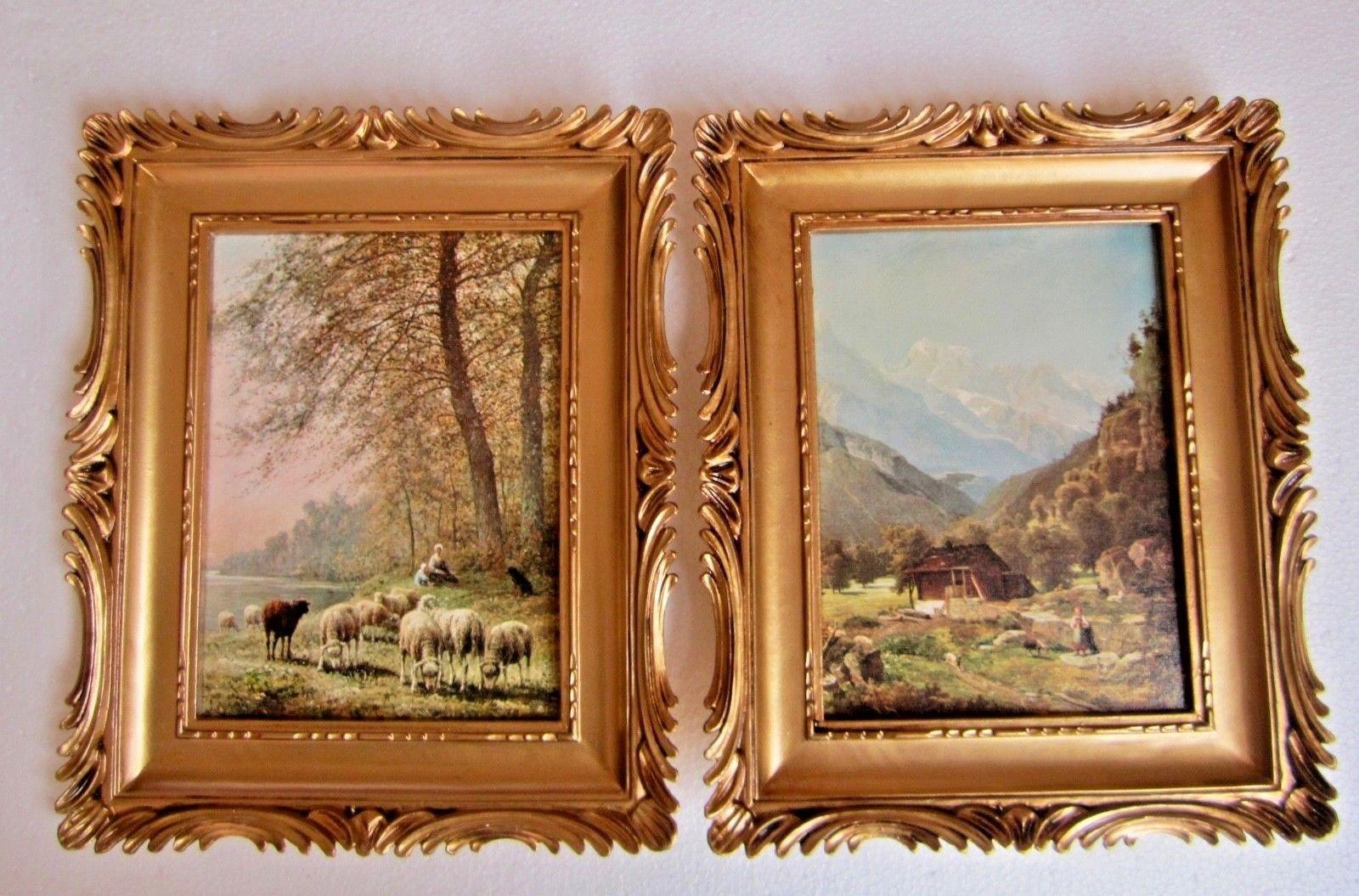 Bilderrahmen Gemälde Landschaft Schaf Schäfer 33x28 Antik BAROCK ...