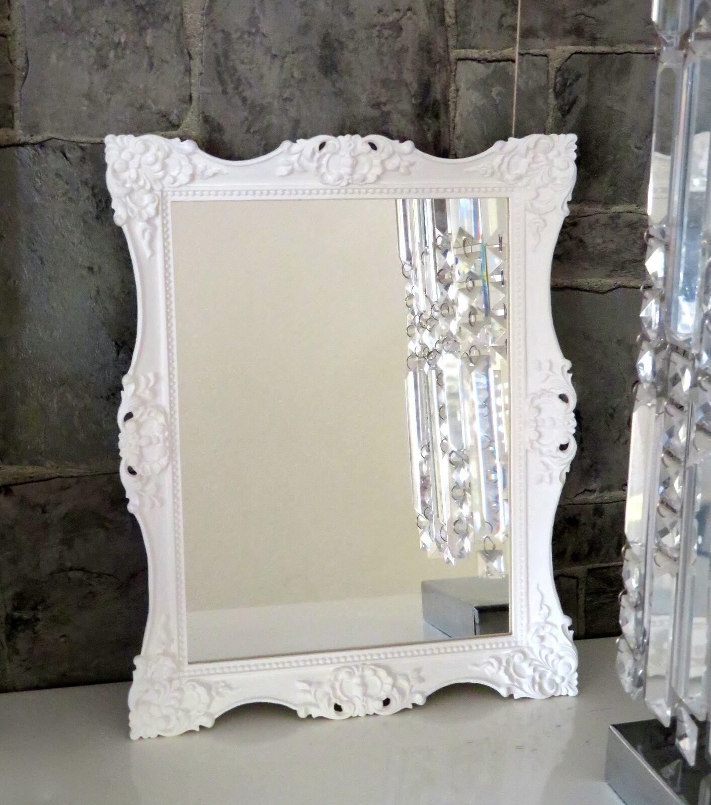 Wandspiegel Barock Weiß Shabby  36x24 Badspiegel Modern Flurspiegel C12M