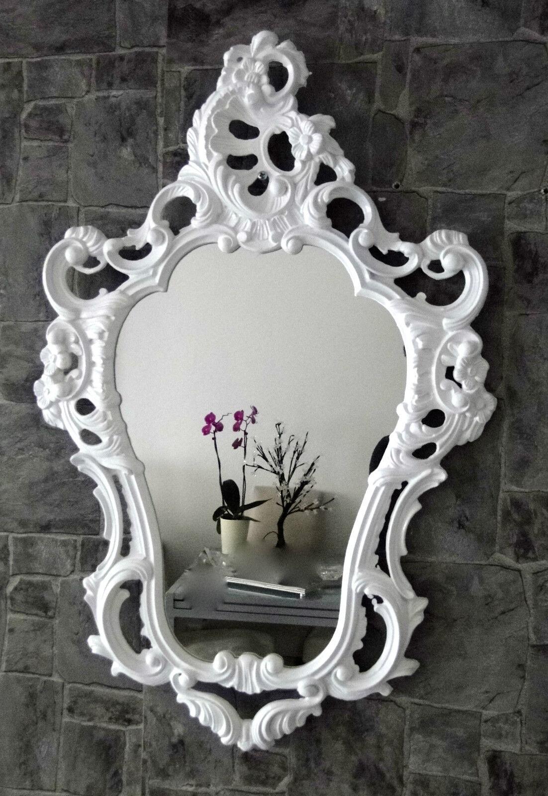 Wandspiegel Weiss Antik Spiegel Barock Shabby Oval Badspiegel 50x76 103039  1 ...