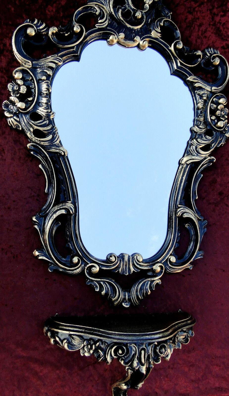 Wandspiegel mit Konsole Barock Schwarz Gold 50x76 Wandtische Ablage Badspiegel