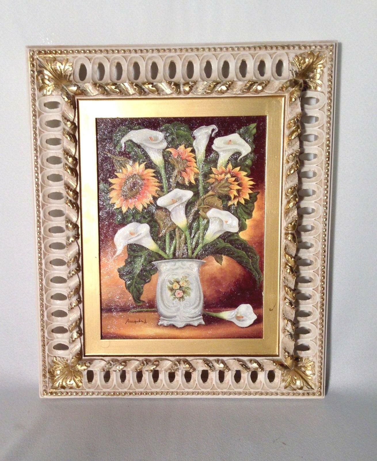 Blumen Gerahmte Gemälde HOLZ 30x36 ÖlBild Sonnenblumen ...
