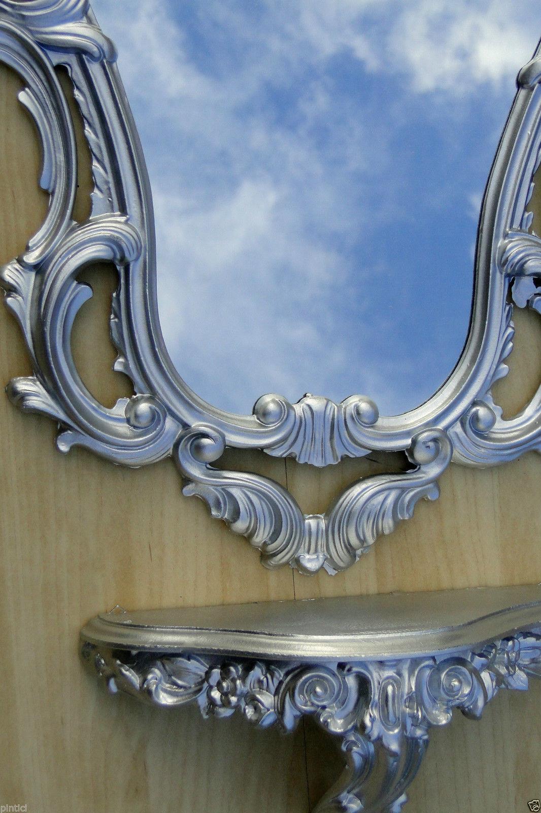 Wandspiegel mit Konsole Silber Barock50x76 Spiegelablage Jugendstil ...
