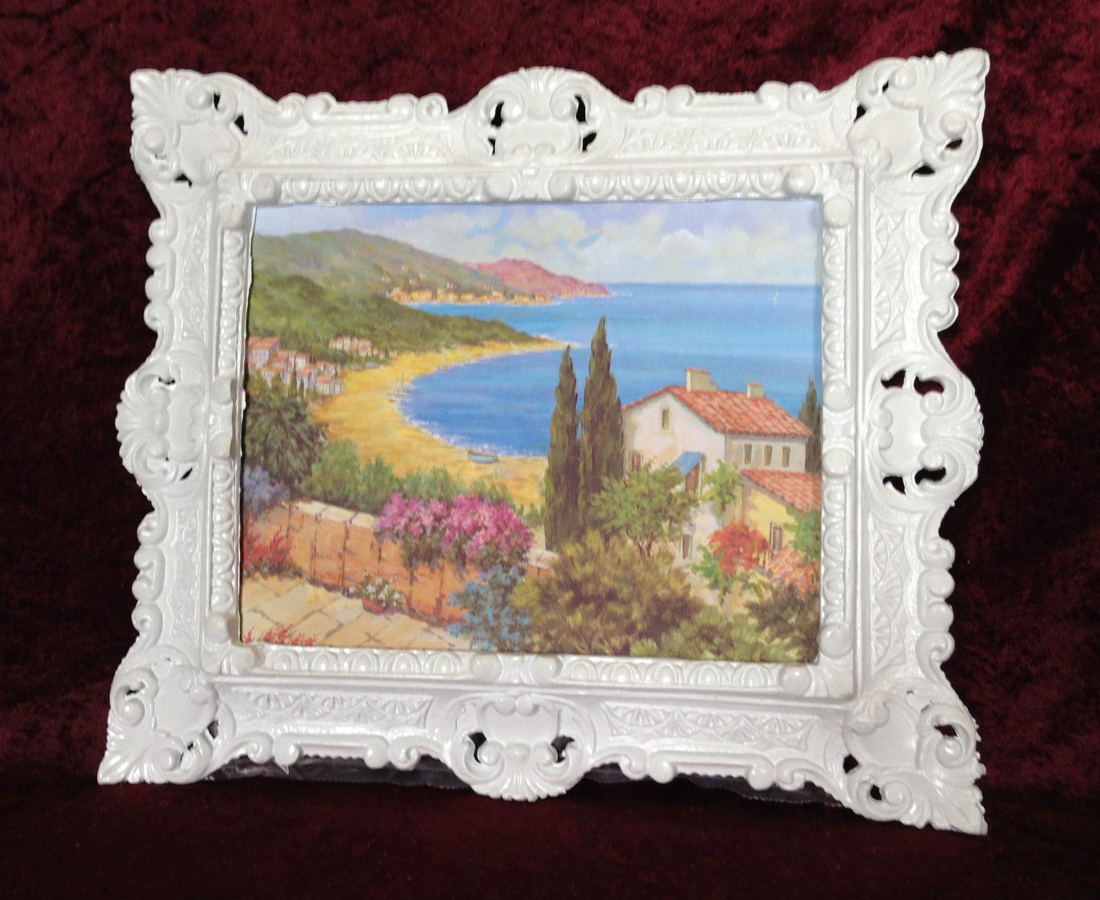 Bild mit Rahmen Gerahmte Gemälde 45x38 See Strand Blumen Landschafts ...