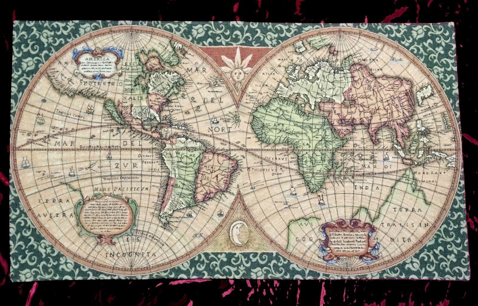 wandteppich gobelin old map landkarte weltkarte antik 117. Black Bedroom Furniture Sets. Home Design Ideas