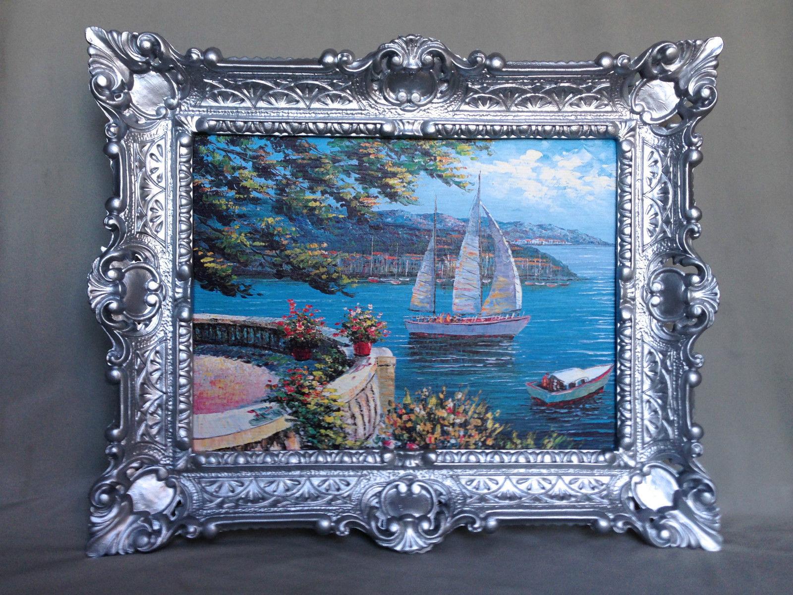 Bild mit Rahmen Paradies Italien 47x57 Landschafts Haus am See ...