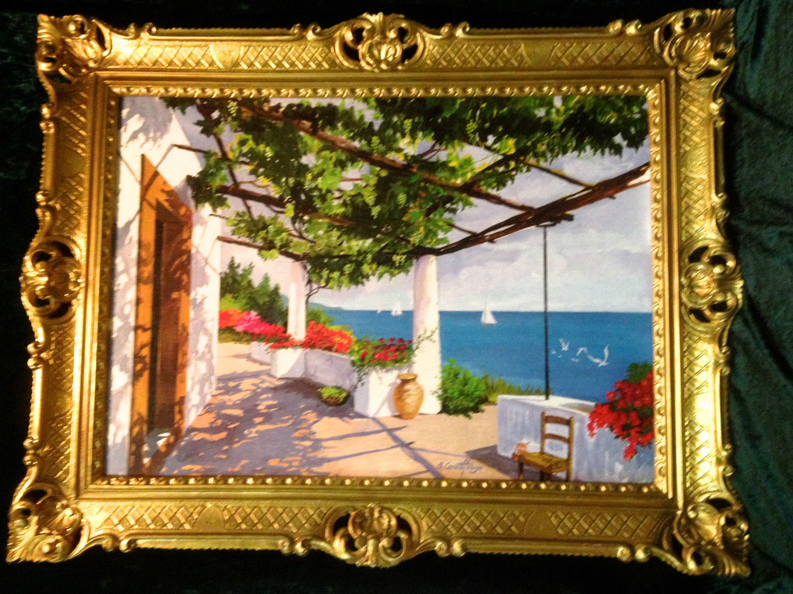 Gemälde Antik Haus am See Blume Reblikat Bild mit Rahmen 90X70 ...