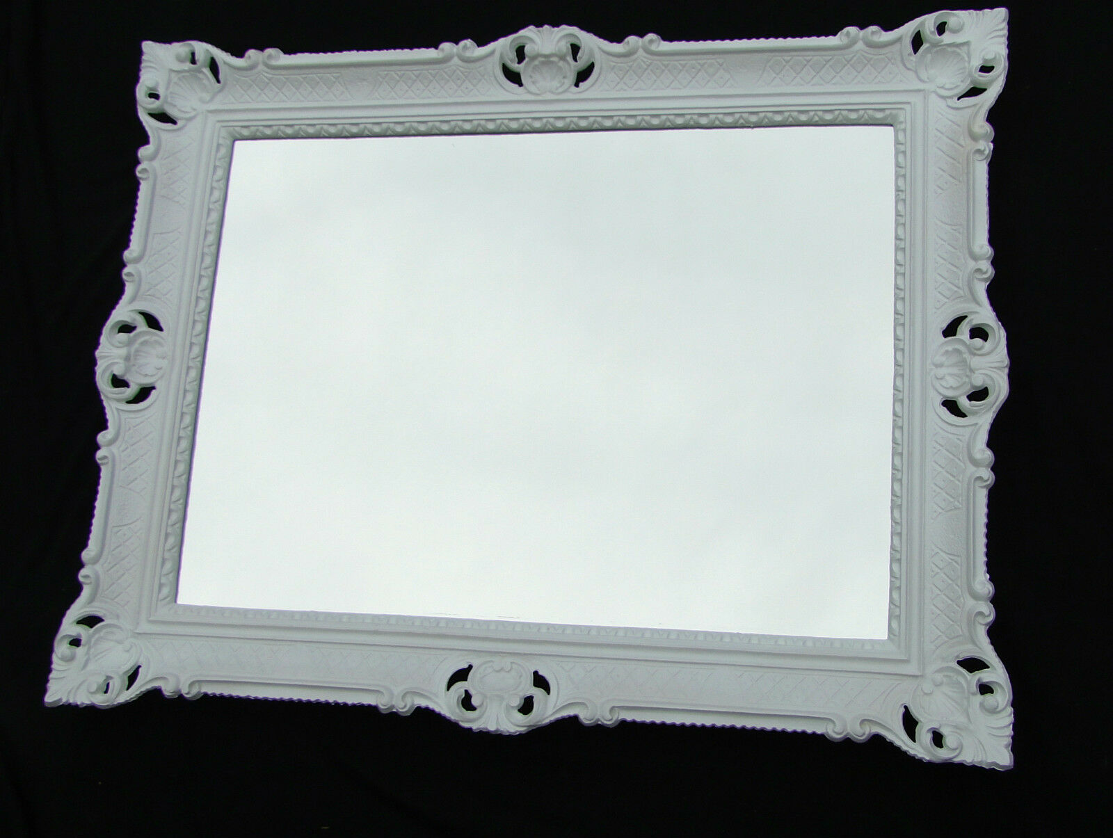 Außergewöhnlich Wandspiegel 90x70 Spiegel BAROCK Rechteckig Antik 1111 Weiß Badspiegel 1 1  ...