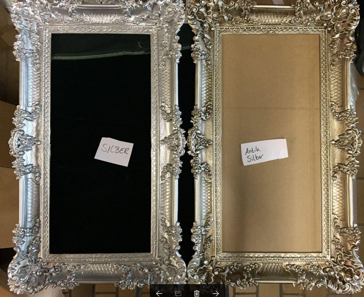 Großer Bilderrahmen Barock Antik Silber 97x57 Rahmen Fotorahmen mit ...