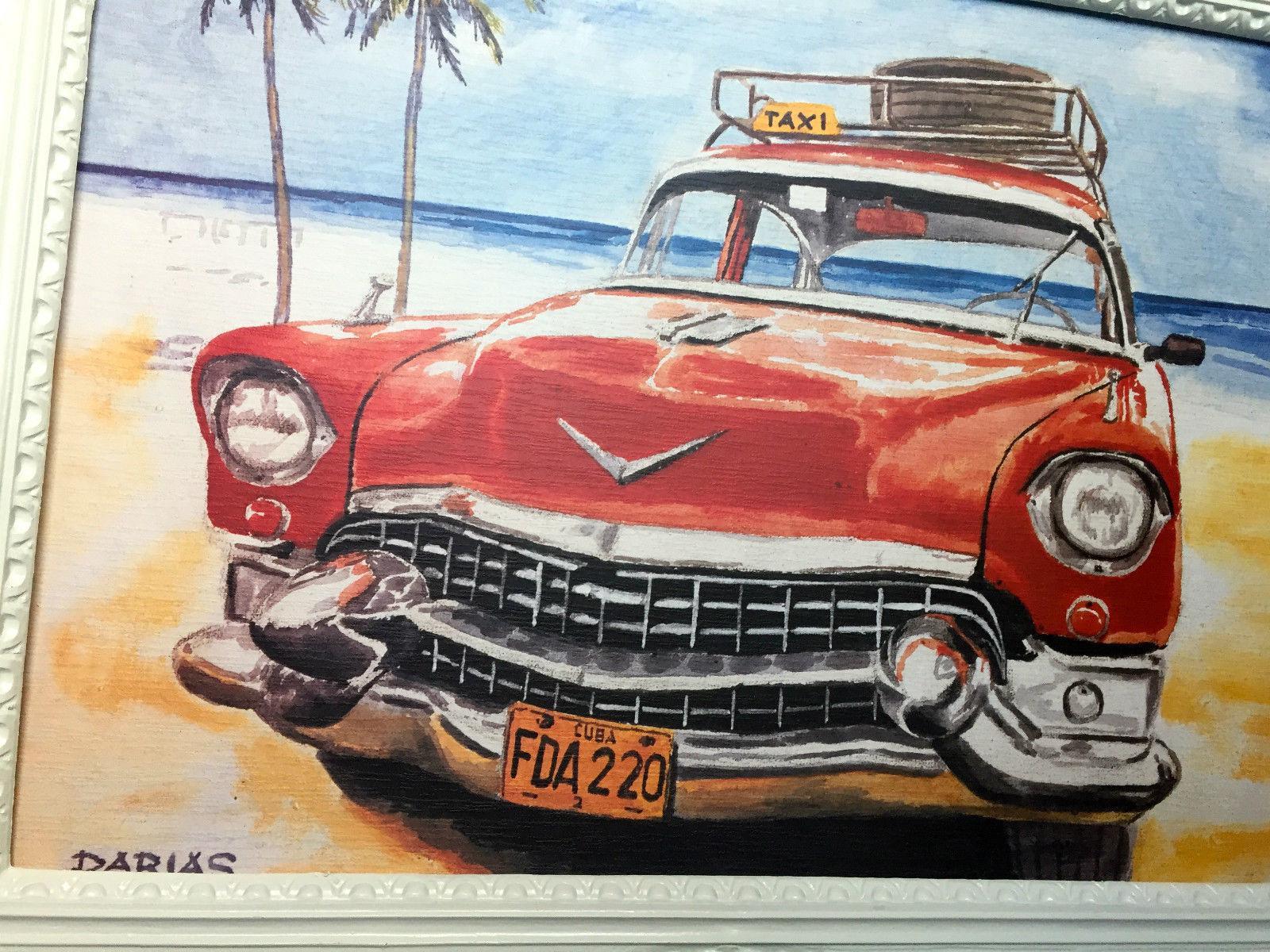 Auto Cuba Taxi Rot Bild Rahmen Wandbild 70x90 Oldtimer Classic Cuban ...