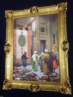 Gemälde Teppich Verkäufer in Basar orientalisches Bild 90x70cm Barock Rahmen 66