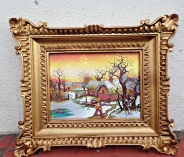 Gemälde 33x28 Antik Barock Rechteckig Bild mit Rahmen Landschaft Leichte Kratzer