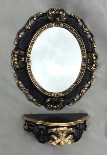 Wandspiegel Oval Schwarz- Gold mit Konsole Barock Antik 45x37 Badspiegel Ablage