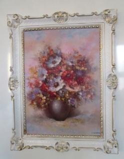 Blumen Rosen Bild 90x70 Bild mit Rahmen Wilde Rosen BLUMEN Gemälde gerahmt 97
