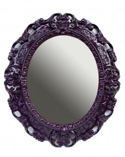 Wandspiegel Lila Spiegel Oval Barock Antik 45x38 Badspiegel Prunk Rokoko Spiegel