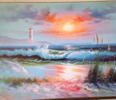 Landschaftsbild Meer See Sonnenuntergang 50x70 Wandbild auf MDF Bild Leuchtturm