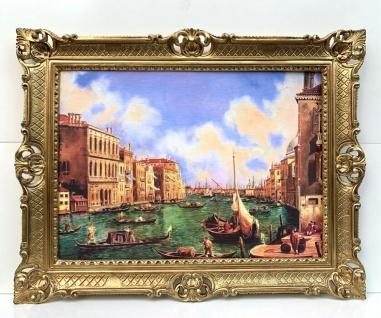 Bild mit Rahmen Gemälde 90x70cm Barock Wandbild Venedig Gondeln Bild Nostalgie