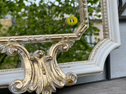 Barock Wandspiegel Elfenbein-Gold Prunk Spiegel Antik Rokoko Badspiegel 59x32 - Vorschau 2