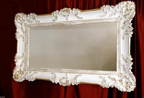 Wandspiegel Antik Barock Weiß-Gold 97x58 Flurspiegel Badspiegel Friseurspiegel