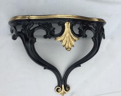 Wandkonsole Antik Schwarz Gold Barock Konsole 57x46x18 Wandregal Shabby cp60