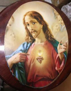 Heilige Bilder Jesus Maria Christliche Bilder Oval 38cmx 48cm auf MDF platte - Vorschau 2