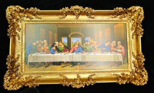 Heiligenbilder Abendmahl 97x58 Jesus Gemälde mit Rahmen Ikone Jesusbild ITALIEN