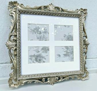 Bilderrahmen Barock Antik Silber mit Glas 38x36 Bilderrahmen Fotorahmen Vintage