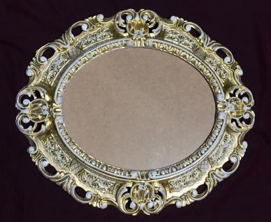 Bilderrahmen Antik Gold-Weiß Oval 45X37 Barock Fotorahmen Bilderrahmen mit Glas