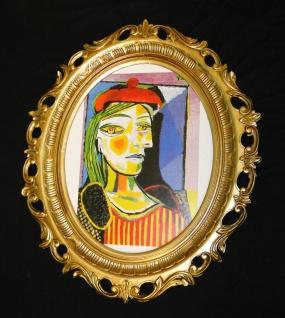 Kunstdruck GEMÄLDE Dora Mahr Pablo Picasso Bild mit Rahmen Bilderrahmen Gold