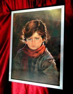 Weinende Kinder als Motiv mit Alurahmen& Glas 74 x54cm gerahmtes Bild Rahmen