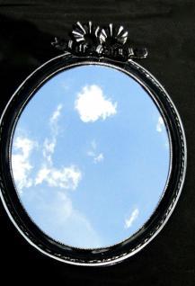 Wandspiegel Schwarz Silber Spiegel 57x41 BAROCK Oval massiv schleife Wanddeko 1 - Vorschau 2