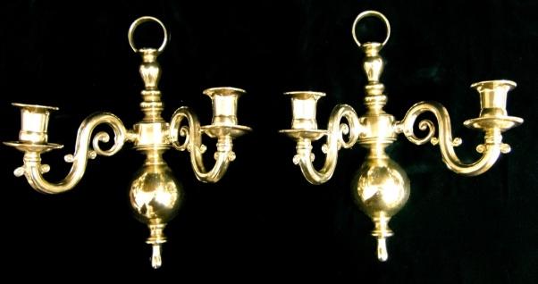 2 x Wandkerzenhalter Antik Gold Wandleuchter Messing Antik Kerzenhalter