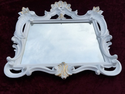 Wandspiegel Weiß-Gold Antik Barock Badspiegel Flur Spiegel 60X57 Jugendstil c494 - Vorschau 3