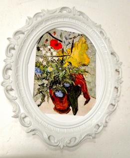 Gemälde Blumen Wandbilder Blumen 68x58 Bilderrahmen Weiß Y840