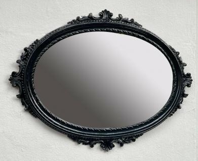 Wandspiegel Schwarz Antik Stil Oval Barock Badspiegel Spiegel 62x48 Flurspiegel
