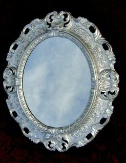 Wandspiegel Silber Oval Barock Antik 45x38 Badspiegel Prunk Rokoko Repro Retro - Vorschau 2