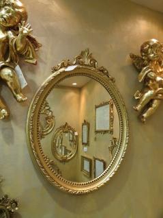 Wandspiegel Barock Weiß-Gold Antik rokoko 63X46 Spiegel Flurspiegel Oval