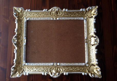 Bilderrahmen Gold Weiß barock + Glas 56x46 Fotorahmen Antik Rahmen 30x40 - Vorschau 4