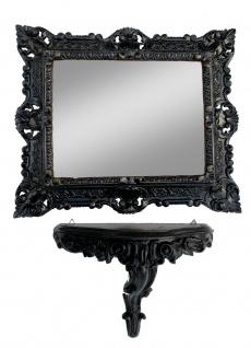 Wandspiegel mit Ablage Schwarz Barock Badspiegel mit Konsole 31x21 Gothik Regale
