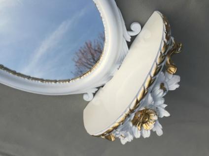 Wandspiegel Barock mit Konsole Ablage Weiß-Gold Spiegel Antik 48x25x13 Oval cp91 - Vorschau 5