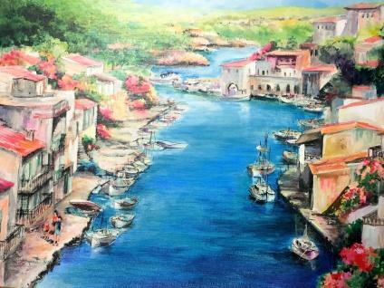 Gemälde Antik Fischerdorf See Bild Ohne Rahmen Landschaften 50X70 Italien
