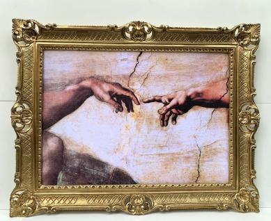 Die Erschaffung Adams von Michelangelo Bild mit Rahmen 90x70 Creation of Adam