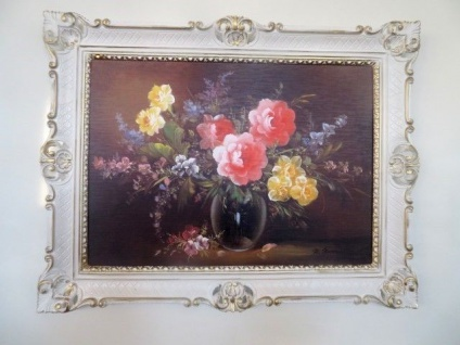 Gemälde Gerahmte Wilde Rosen in Vase Schwarz 90x70 Blumen Bild Barock Rahmen