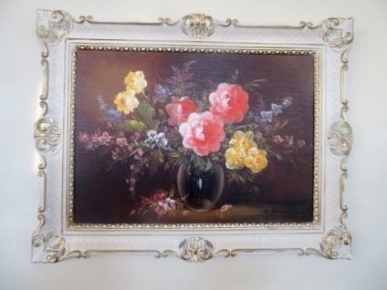 Gemälde Gerahmte Wilde Rosen in Vase Schwarz 90x70 Blumen Bild mit Rahmen 99