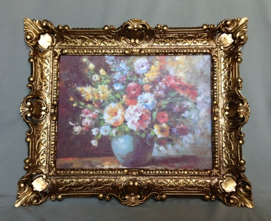 Gemälde Blumen in Vase Blau Wandbild 57x47 Blumen Bild mit Rahmen Gold 04