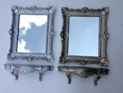 Wandspiegel Rechteckig mit Konsole Antik Silber Spiegelablage 56X46 Barock