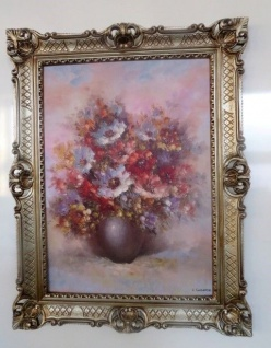 Blumen Rosen Bild 90x70 Bild mit Rahmen Rosen BLUMEN Gemälde Flower gerahmt 97