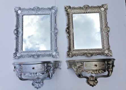 Wandspiegel mit Konsole mit Schublade Silber Spiegelablage 56X46 BAROCK