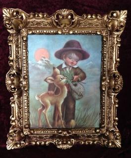 Bild mit Rahmen Schaf Schäfer Kind Bild Junge mit Reh Wandbild 45x38 Barock