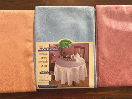 Tischdecke 180 Rund Tischwäsche jacquard stoff Damast Bügelfrei Blumenmuster