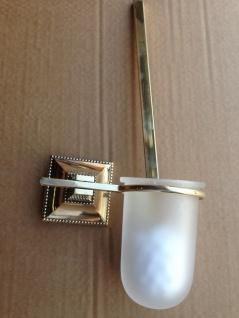 WC Garnitur Gold 42cm Toilettenbürste Bürste poliertes Messing Klobürstenhalter - Vorschau 3